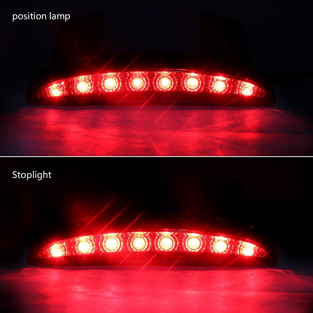 For Motor Sportster Motorcycle Chopped Rear Fender Edge LED Brake License Plate Tail Light Stop Running Light Turn Signal Lamp