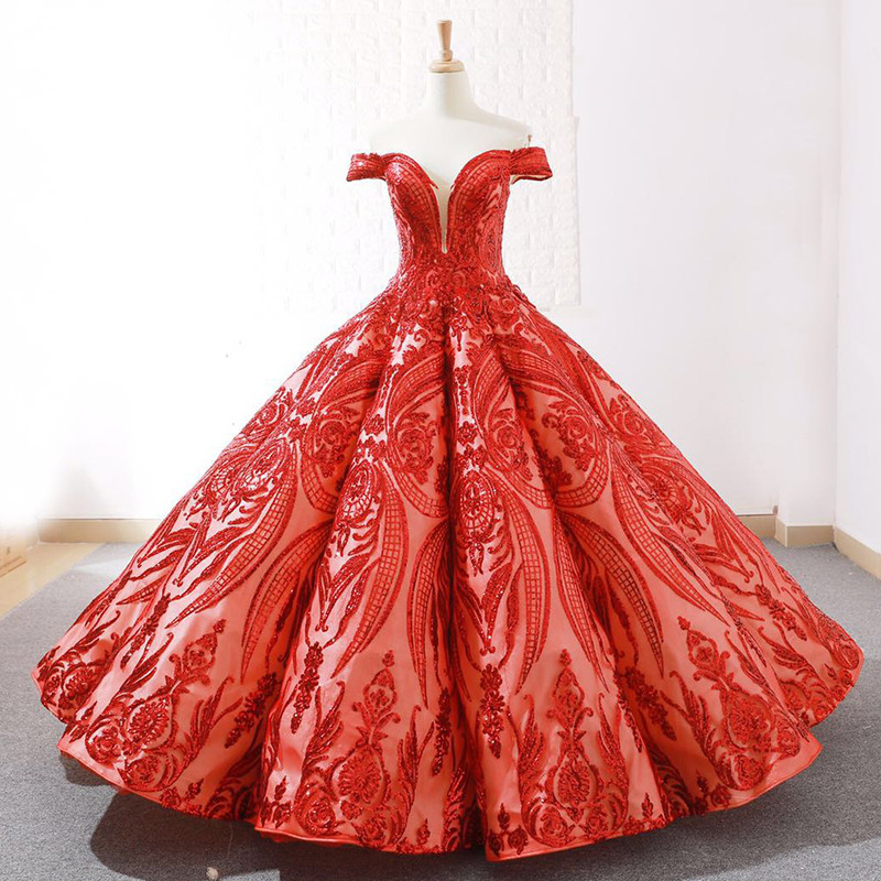 New Vintage Red High-end Embroidery Ball Gown Prom Dresses 2019 Off Shoulder Sexy Fashion Dubai Evening Dresses Real Photo