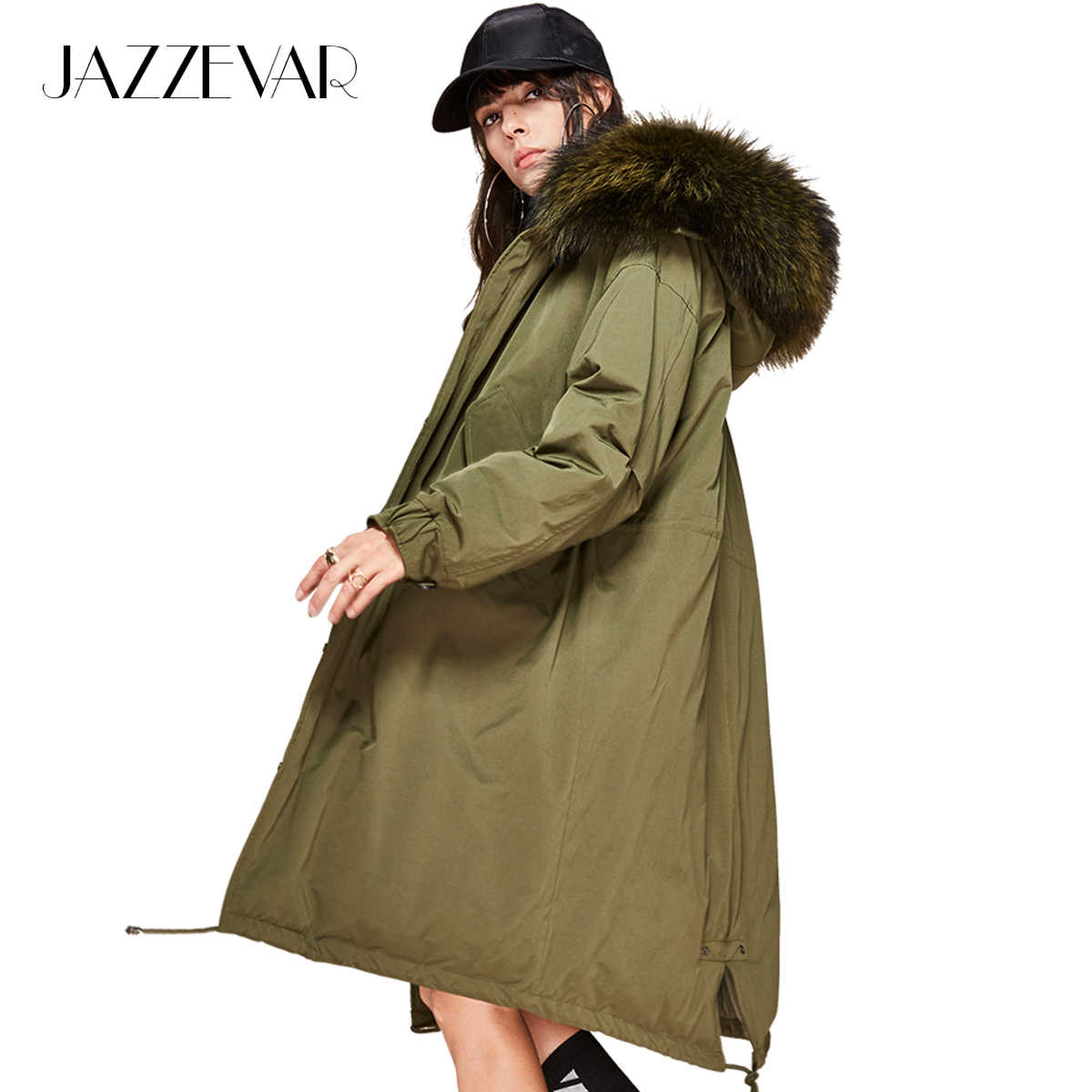 JAZZEVAR 2019 New winter Women 90% white duck down jacket oversize long down coat large real raccoon fur Hooded Parka