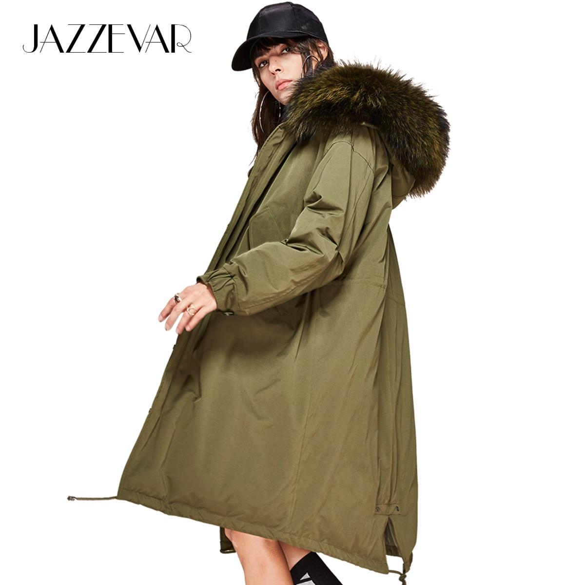 JAZZEVAR 2019 Novas Mulheres inverno 90% de pato branco para baixo jaqueta oversize Parka Com Capuz casaco longo para baixo grande pele de guaxinim de verdade