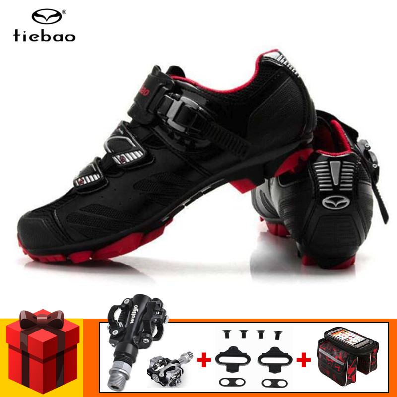 Tiebao Cycling Shoes add SPD pedals set Racing Mountain Bike Shoes Men Breathable sapatilha ciclismo mtb