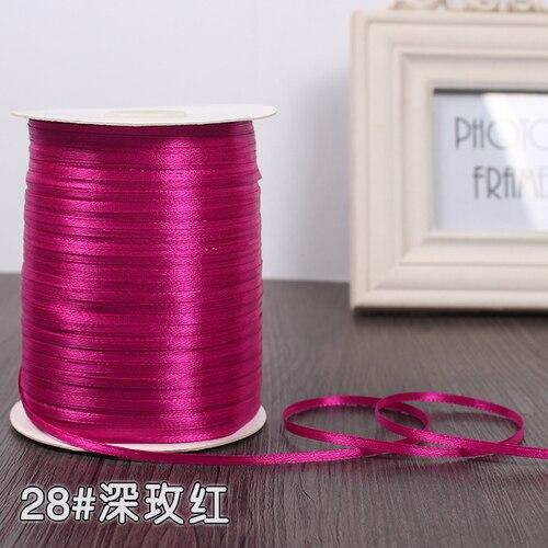 3 мм ширина бордовые атласные ленты 22 метра швейная ткань подарочная упаковка «сделай сам» ленты для свадебного украшения - Цвет: Deep Fushia