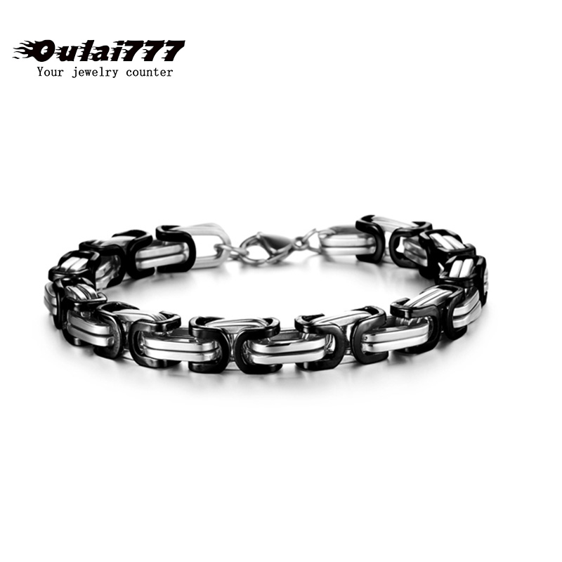 2019 stainless steel men bracelet on hand link chain charm Byzantium gifts for male mens chain link bracelets hip hop rock style