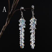 Женские серьги с австрийскими кристаллами Длинные корейские