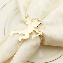 6PCS hotel table set cupid metal napkin buckle ring mat towel paper