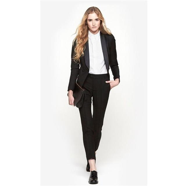 17c668a15 Pantalones de traje negro de las mujeres trajes de 2 piezas conjunto Formal  pantalón trajes para