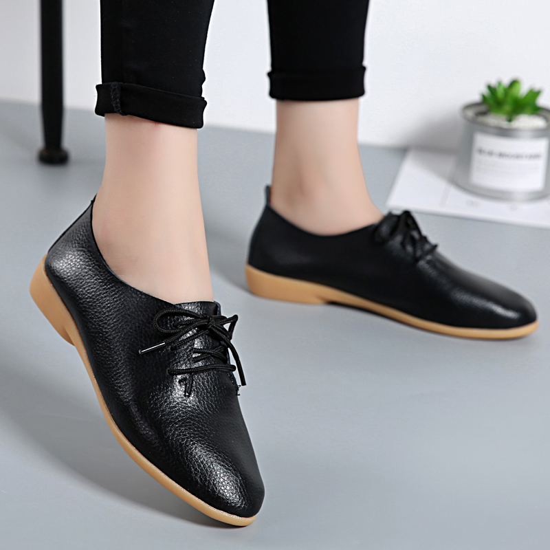 2018 Women Fashion Flat Shoes Casual Genuine Leather Solid Footwear Female Lace Up Ladies Flats Women's Shoes BTD700