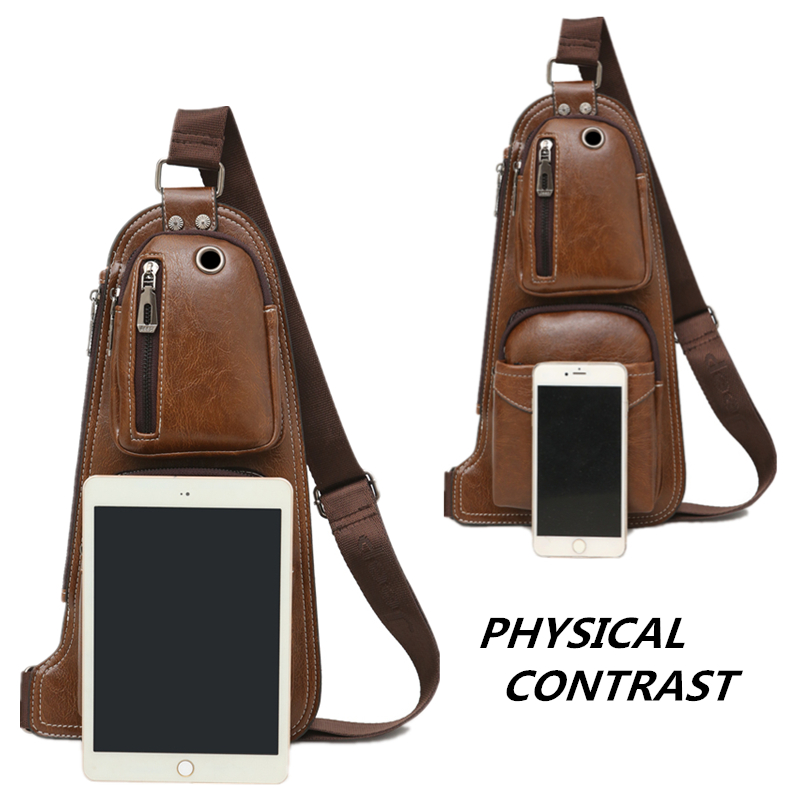 Image 3 - JEEP BULUO BRAND New Men Messenger Bags Hot Crossbody Shoulder Bag Famous Man's Leather Sling Chest Bag Fashion Casual 6196-in Crossbody Bags from Luggage & Bags