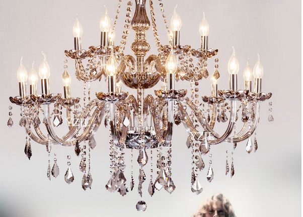 Smoke Grey Crystal Chandelier Luxury Living Room Bedroom