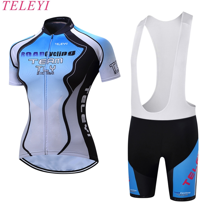 Hot Selling EU Brand teleyi Women Cycling Jerseys 5D Gel Pad Pro Team Bike Clothing Maillot Ciclismo Ropa Female Bicycle Cloth