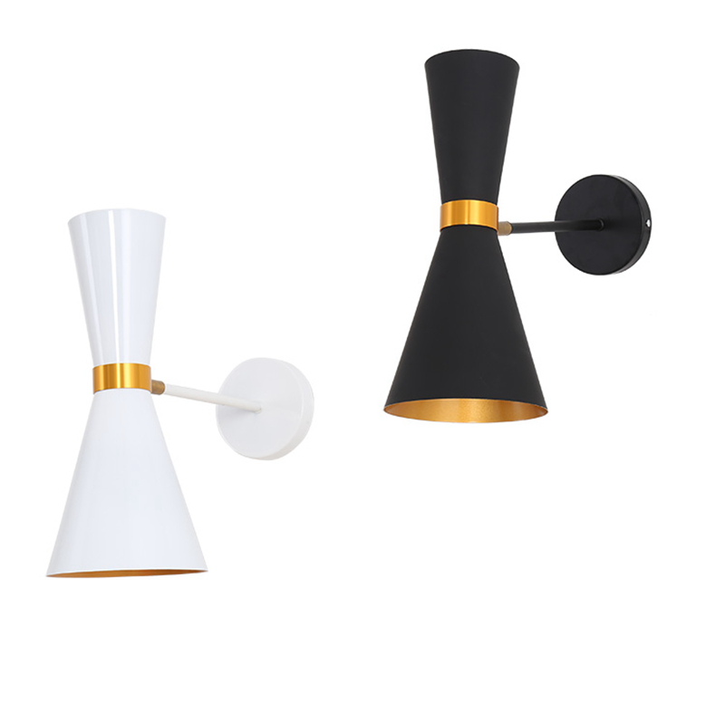Modern brief wall light simple bedside lamp Creative Living room wall lamps bedroom study Rotating minimalist design black white simple modern american country retro mirror front wall light creative bedside bedroom living room study long arm wall lamp