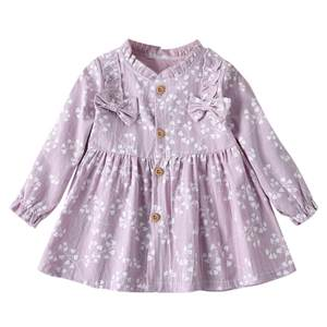 ARLONEET 2019 New summer babys Dress Toddler Baby Girls Long Sleeve Solid Ruched Floral Flower Bow Dressed Clothes Z0207