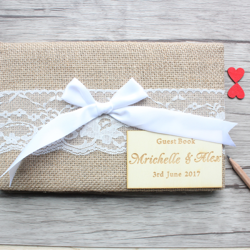 Wedding Guest Book Personalized,Burlap Wedding Guestbook,Rustic Engagement Anniversary Guestbook,Vintage Sign Book Wedding Decor