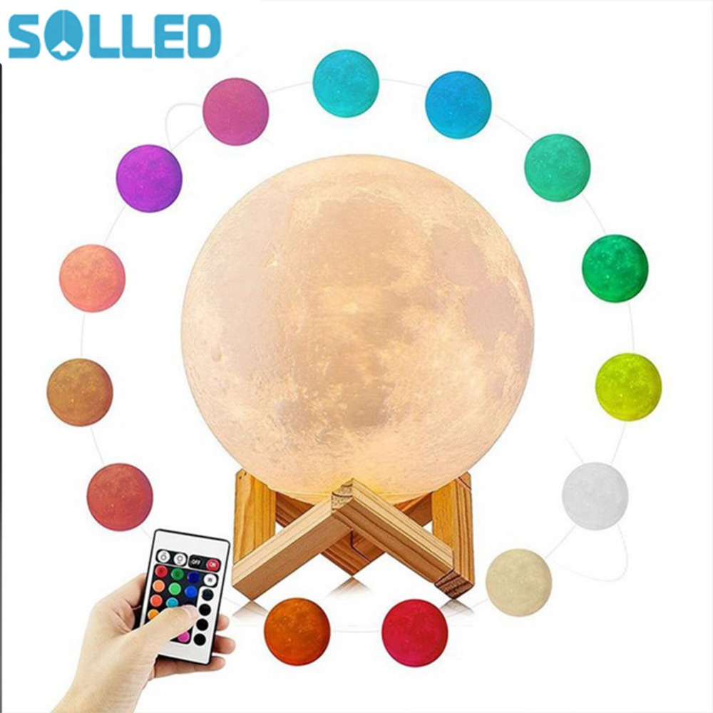 SOLLED Rechargeable 3D Print Moon Lamp 16 Color Change Touch Switch Bedroom Bookcase Night Light Home Decor Creative Gift