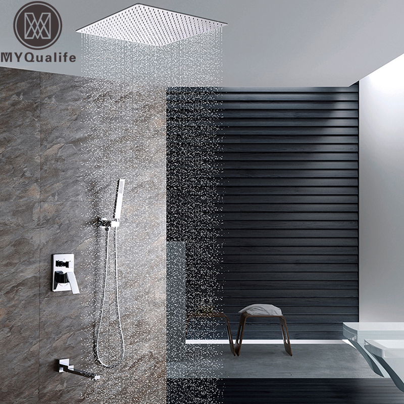 Luxury Ceiling Mounted Bath Shower Set Single Handle 3 Functions Shower Mixer Tap with Handshower and Rotate Tub Spout