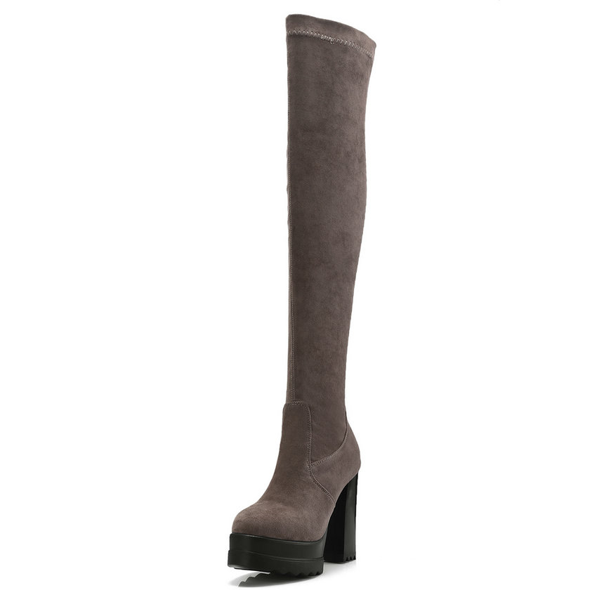 4260c15bb864 Sur 2019 Haut À Chaussures Le Vinlle 34 gris D hiver Genou Talons Carré 42  noir ...