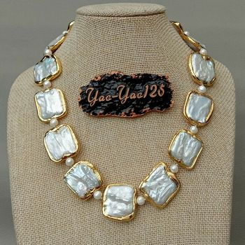 "18.5"" White Square Keshi Pearl Golden plated Necklace"