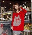 Loose batwing abrigo de lana de conejo grande grano de la orden cara de gato crece suéter de manga larga
