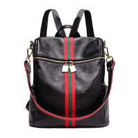 Genuine Leather Shoulder Bag Women S New European First New Leather With Striped Black Women S