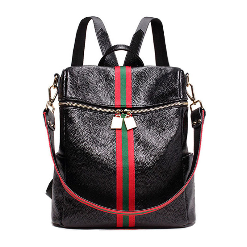 2018genuine Leather Shoulder Bag Women's New European First New Leather With Striped Black Women's Fashion Travel Backpack