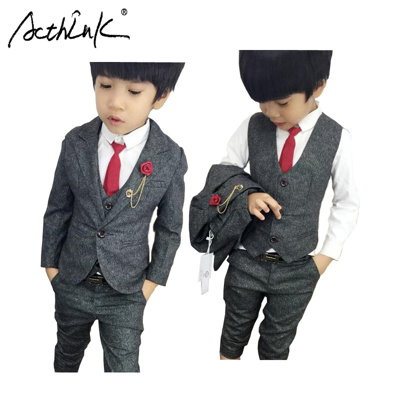 ActhInK New 3PCS Boys Wedding Suit with Belt England Style Boys Formal Vest Blazer Suit Children Graduation Clothing Set, C156 acthink new boys summer formal 3pcs shirt shorts waistcoat suit children england style wedding suit with bowtie for boys zc033
