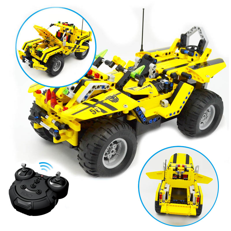 Children Toys 2 IN 1 Simulation Off-road Vehicle Remote control Car Assembled Blocks Toys Gift Building Blocks Car Model 12dd building blocks assembled remote control car educational toys red black