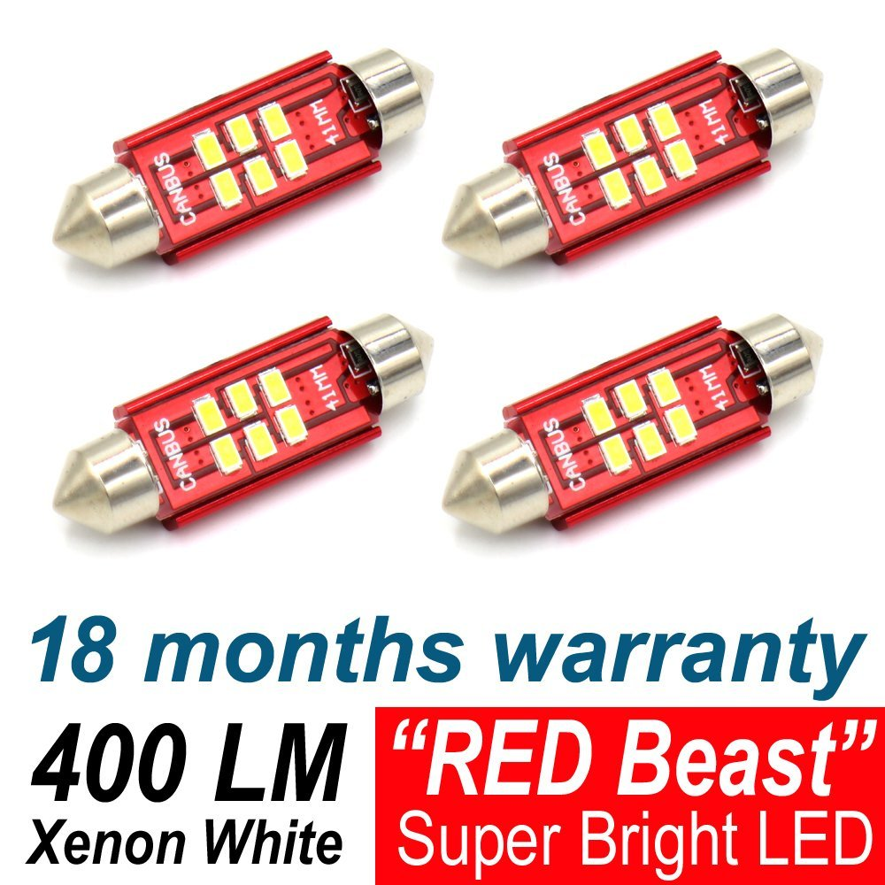 4X TMH 6LED 3020 Chipset Canbus Free 1.61 41MM Xenon White Festoon Interior Door License Plate Dome Map Courtesy Car Light