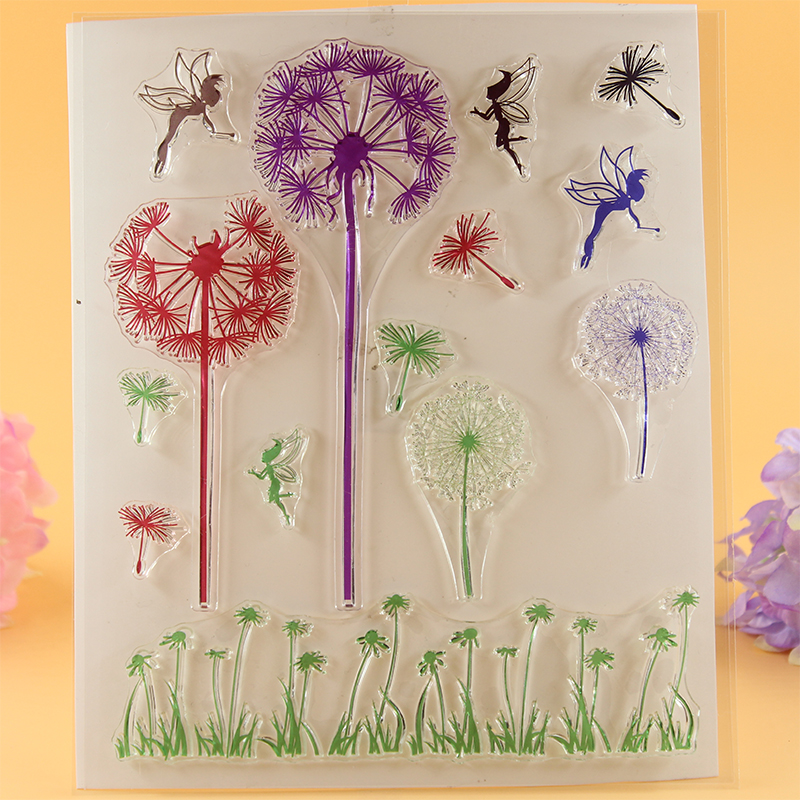 YLCS035 dandelion Silicone clear stamps for Scrapbooking DIY album cards decoration scrapbook transparent rubber stamp 16*18cm jwhcj vintage cat date wood roller stamps for children diy handmade scrapbook photo album diary book decoration students stamps