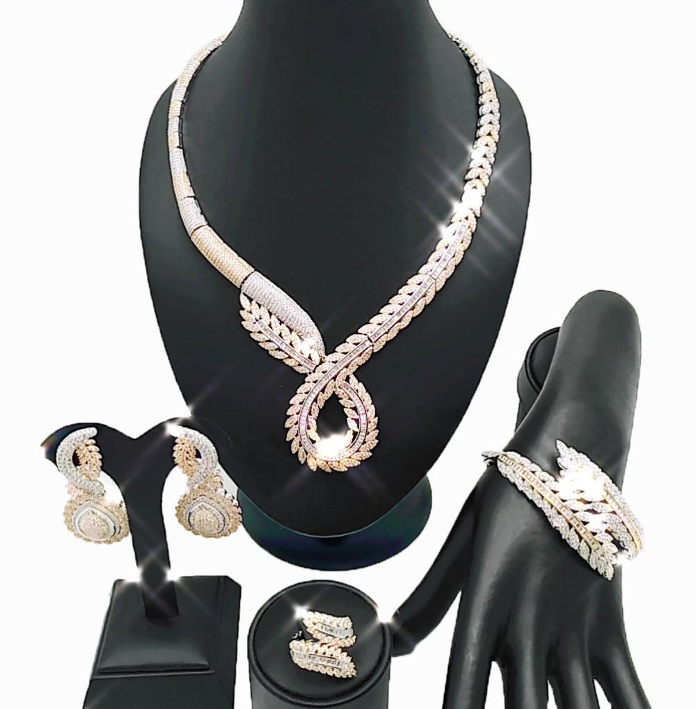 Véritable or 18 K pour mariage Zircon bijoux ensembles perles africaines bijoux ensemble en gros bijoux africains ensembles femmes collier