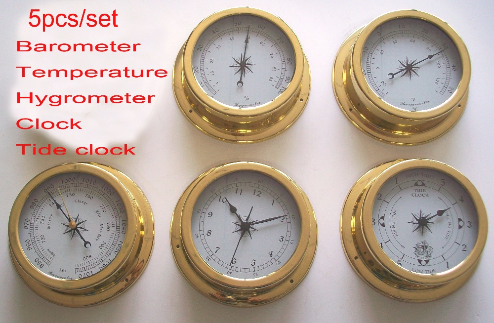 5 pcs set Brass Case Boat Weather Station Barometer Temperature Hygrometer Humidity and Clock 145mm Large
