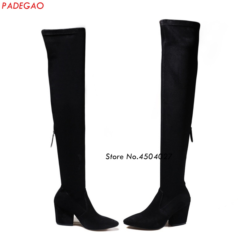 Black Pointed Toe Women Thigh High Long Boots Zipper Designer Over The Knee Boots Ladies Thick HeelsBlack Pointed Toe Women Thigh High Long Boots Zipper Designer Over The Knee Boots Ladies Thick Heels