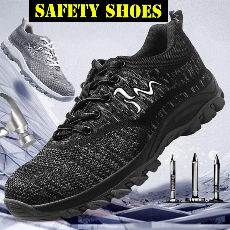 Güvenlik ve Koruma'ten Güvenlik Ayakkabıları'de Euro boyutu çelik burunlu güvenlik ayakkabıları erkek siyah hafif Anti smashing endüstriyel ayakkabı nefes Sneakers kadınlar pembe title=