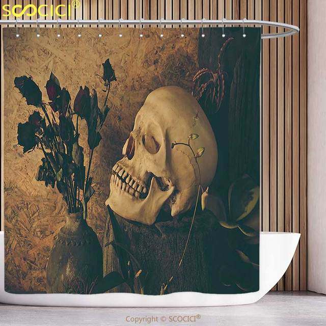 Waterproof Shower Curtain Gothic Decor Collection Human Skull With Dead Dried Roses In The Vase Grunge