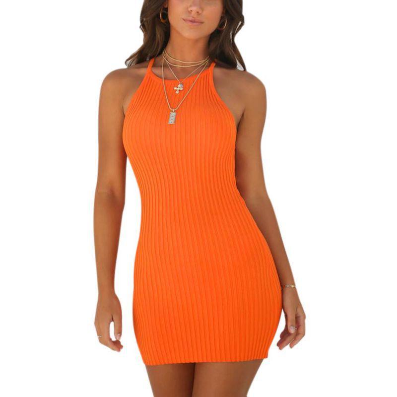 Summer Sheath Sleeveless Spaghetti Strap Women's Dress Europe Sexy Rib Small Sling O-Neck Dress Vestidos
