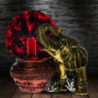 Bronze Elephant Novelty Lighting Plasma Ball Touch Responsive Desk Lamp Home Art Decorative Lighting Figruine Statue Lamp