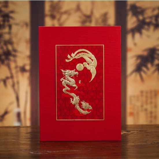 Chinese Wedding Guest Book For Special Day As Decorations Souvenirs Gift Gold Dragon Phoenix