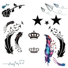 1PC Body Art feather Water Transfer Flash Fake Tattoo Sticker Feather Bird Blue Black Flower Star Sex Temporary Tattoo Sticker(China)