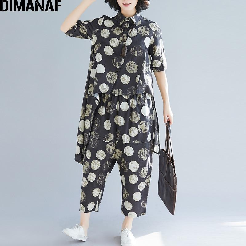 DIMANAF Plus Size Women Sets Female Clothes Lady Tops Shirt Cotton Long Pants Loose Casual Polka