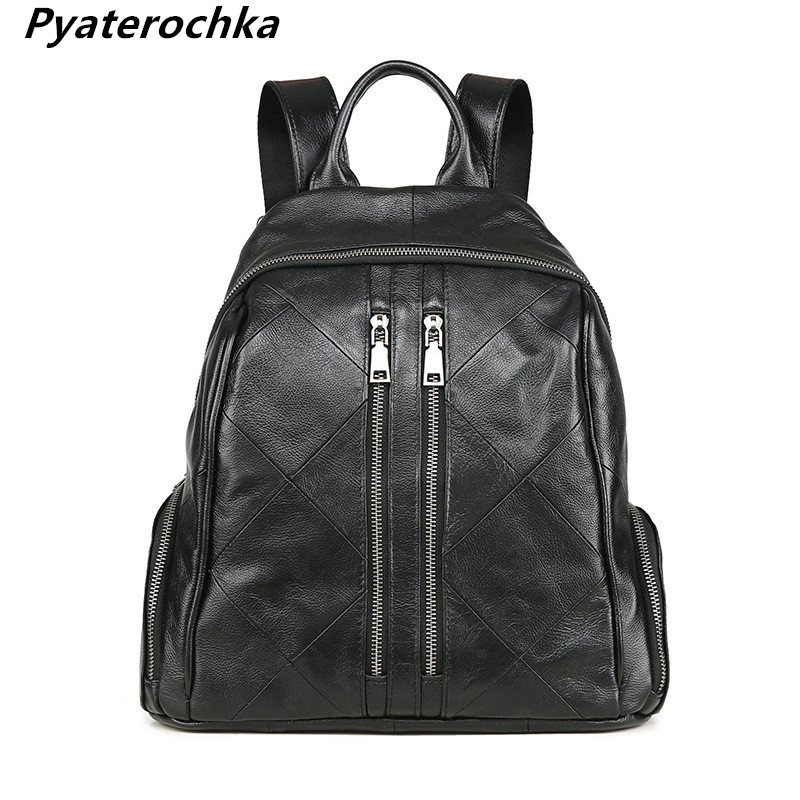 Pyaterochka Genuine Leather Backpack Women Vintage Casual Hand Bag Pack Fashion 2018 Korean Style Luxury Real Leather Backbag twenty four women backpack real genuine leather back pack casual korean style lady travelling bag zipper luxury brand mochila
