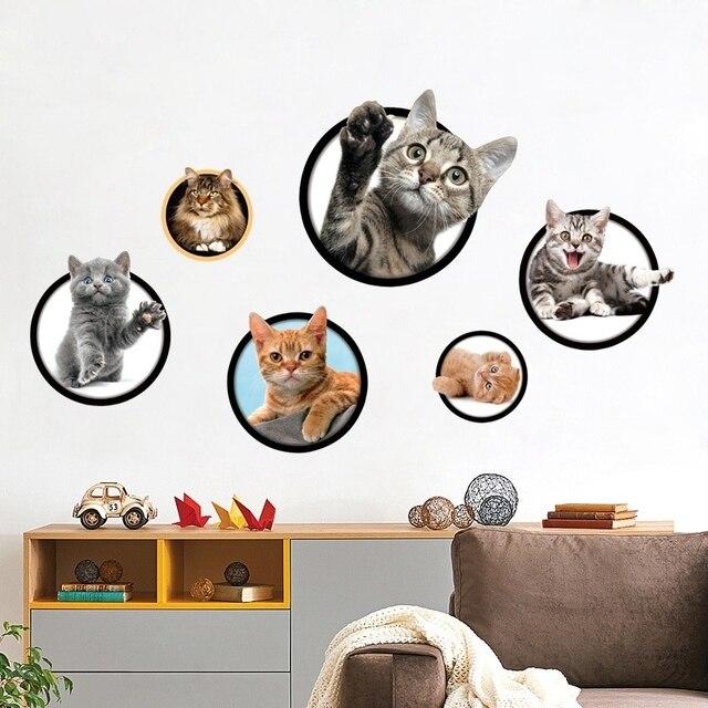 New 3d 2 Pc 40 60 Cm Mural Wallpaper Cat Dinding Stiker Dekorasi