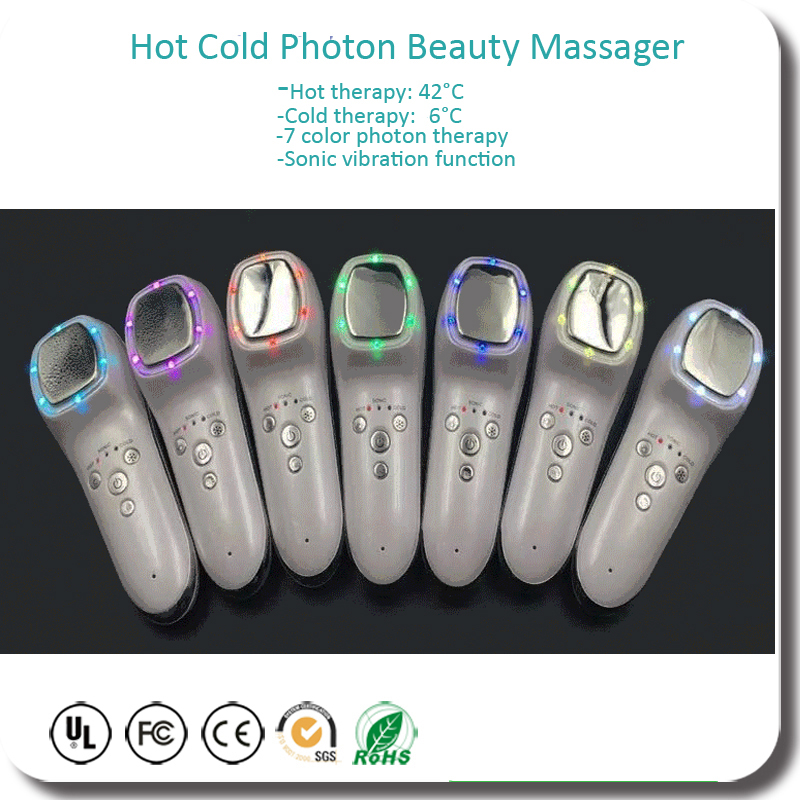 Ultrasonic Vibration 7 Color Led Photon Rejuvenation Hot Cold Therapy Spot Pigment Acne Removal Shrink Pores Beauty Instrument anti acne pigment removal photon led light therapy facial beauty salon skin care treatment massager machine