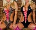 Sexy Lingerie Leopard/Black Three-point Backless Bikini Swimsuit Leather Pajamas Babydolls Women's Large Size Sleepwear YXT1011
