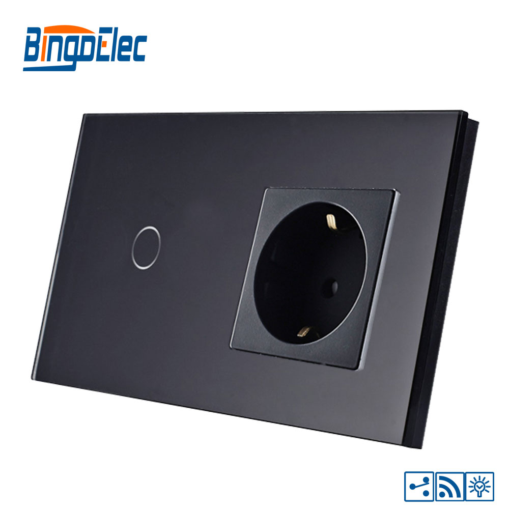 Bingoelce 1 ギャング 2 ウェイのタッチスイッチ高級ガラスパネルリモート調光器ドイツソケット壁ライトスイッチ  グループ上の ライト & 照明 からの スイッチ の中 2