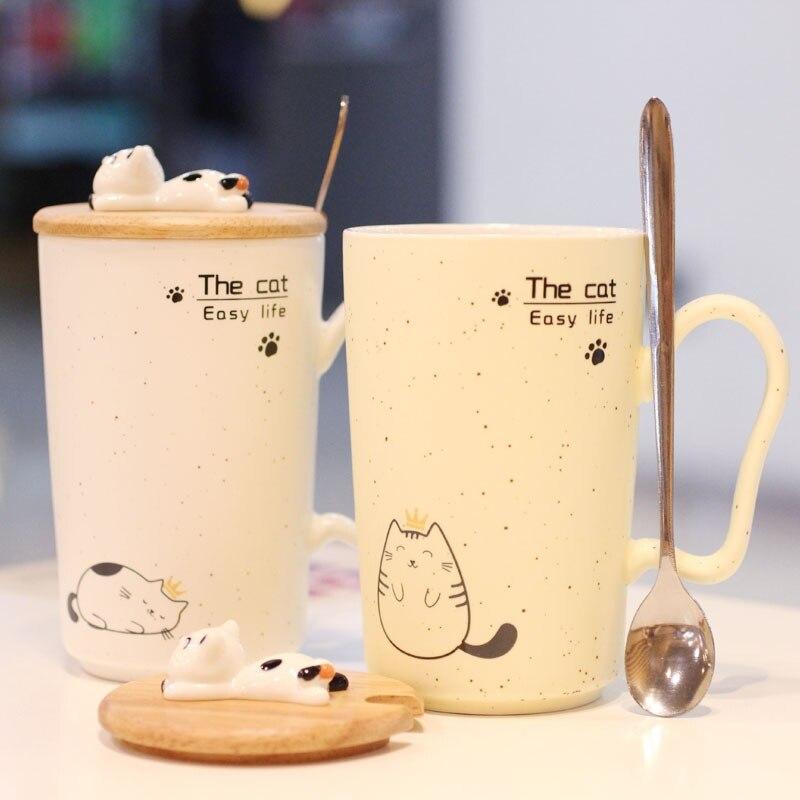 Gypsophila sésamo taza impresión gatito Papa Gato Taza de cerámica taza de leche taza Oficina Creativa desayuno regalos
