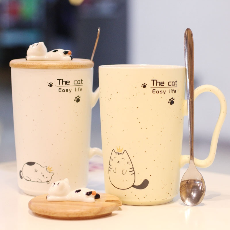 Gypsophila sesame cup impression kitten Papa cat ceramic cup milk coffee mug cup creative office breakfast gifts
