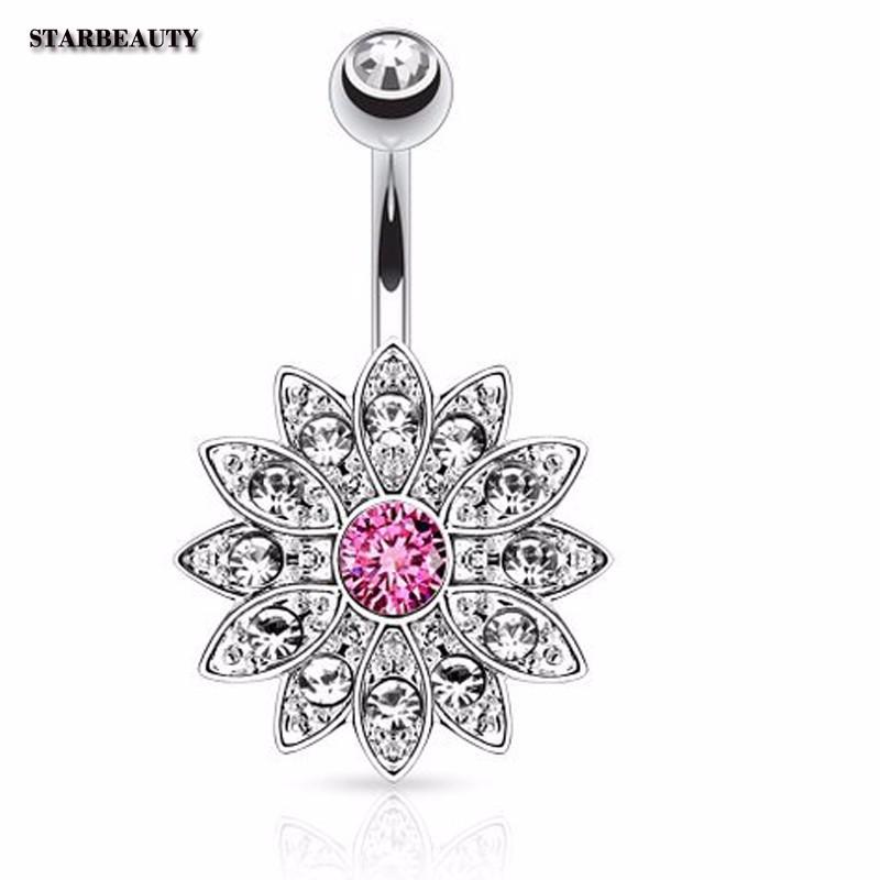HTB1zsKDOXXXXXaYaXXXq6xXFXXXT Dazzling Crystal Sunflower Petal Navel Piercing Silver Ring