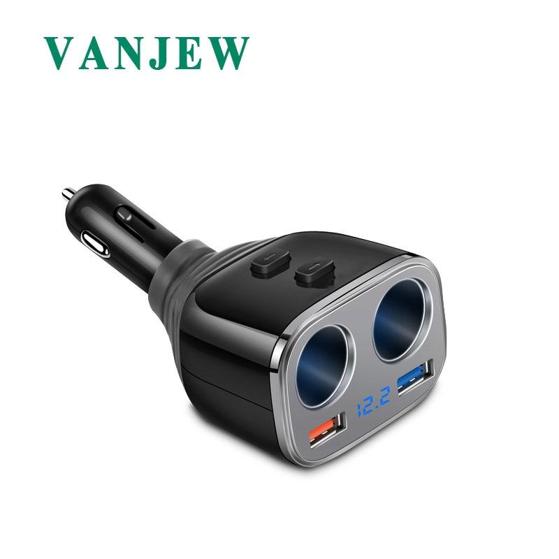 VANJEW C28 автомобильного прикуривателя Мощность адаптер Dual Порты usb Quick Charge автомобиля Зарядное устройство DC 12/24 В 2 розетки адаптер