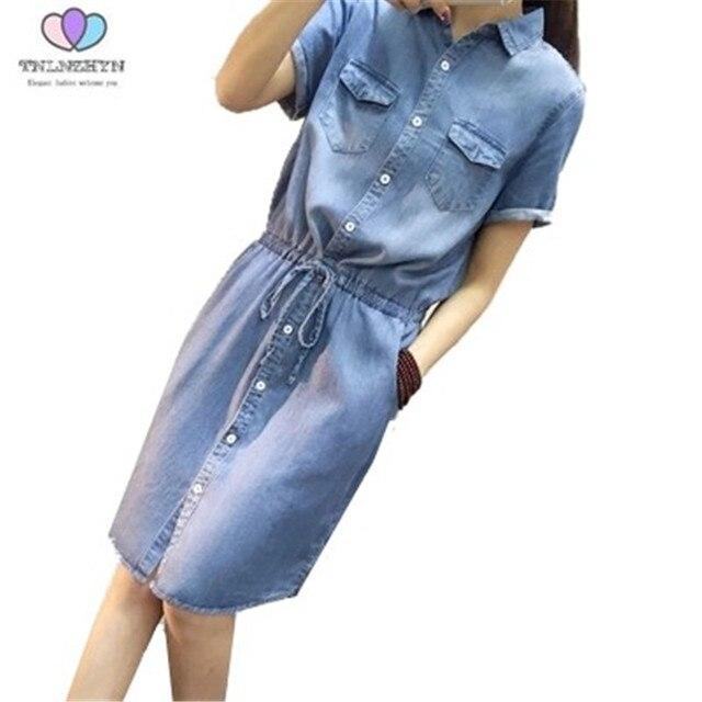 ed3a0d03202f4c 2019 Korea Stil Sommer frauen Denim Kleid taschen kurze ärmel Jeans Kleider  Solide damen Casual Kleid