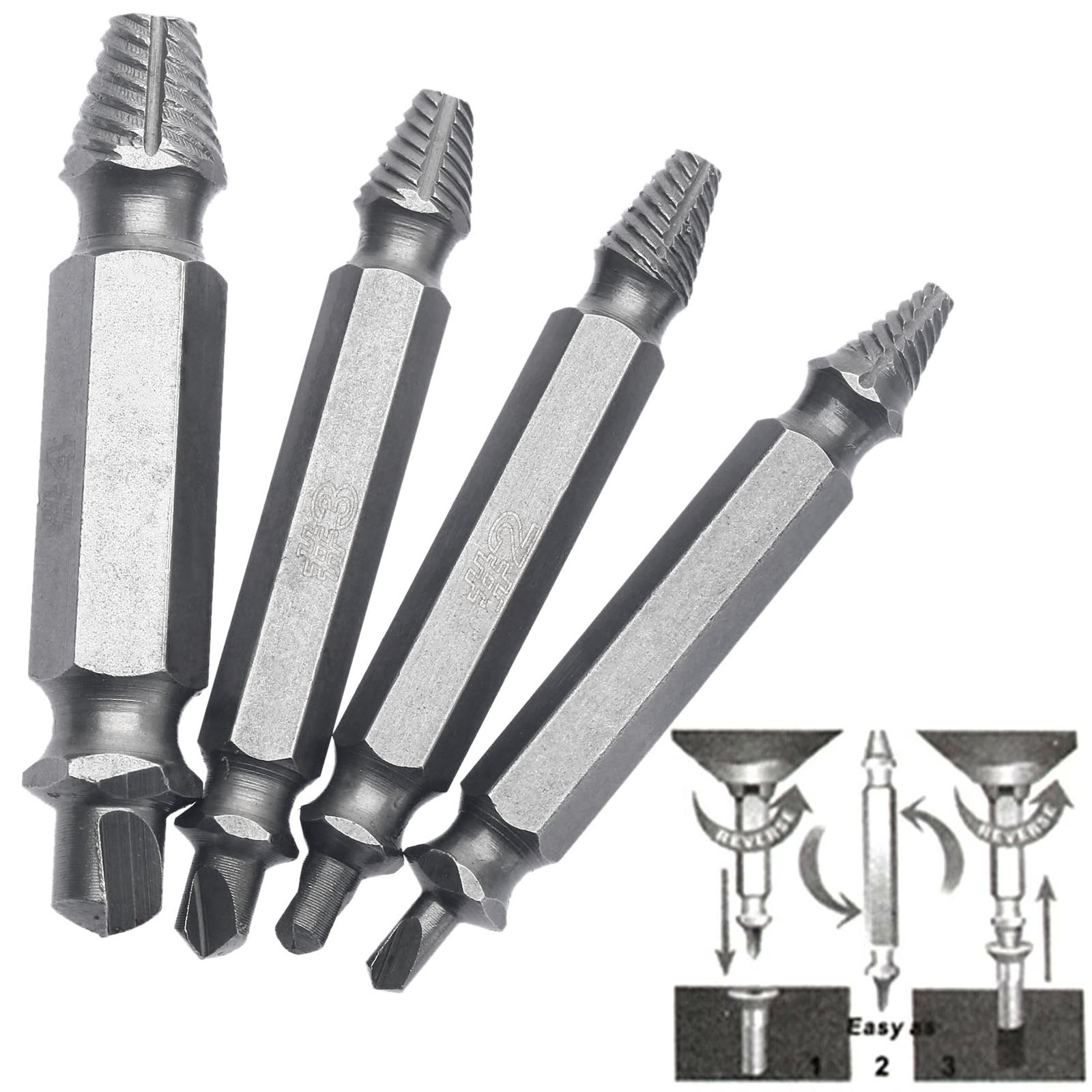 4Pcs Tools for Carpentry Screw Extractor Drill Bits Broken Damaged Bolt Remover Easy Out Double Side Bolt Stud Screw Extractors screw extractor