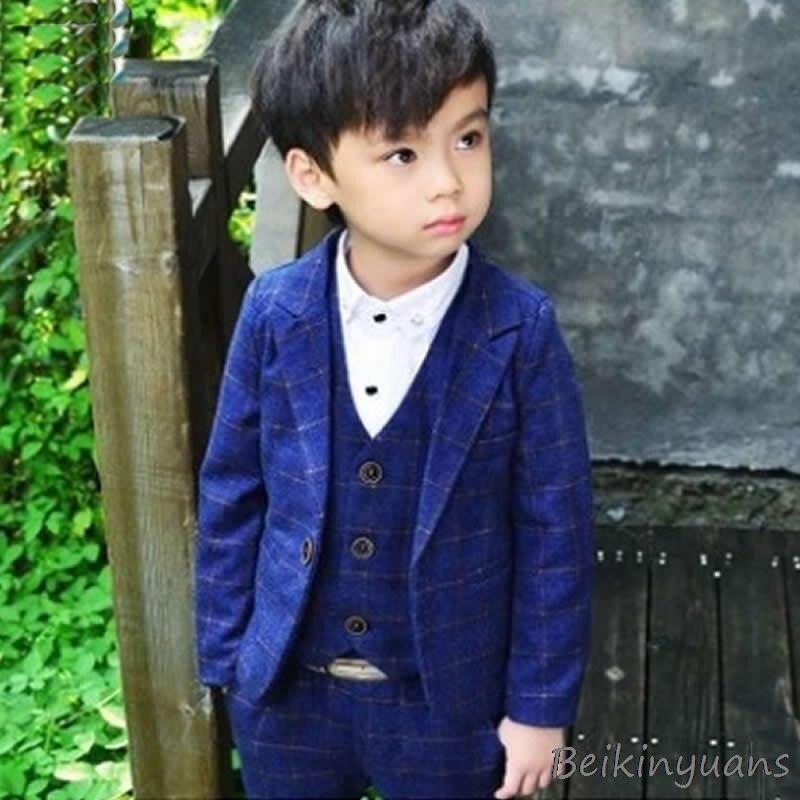 Spring and Autumn Three piece suit gentleman children's wear children's trousers boys suit jacket + pants + vest-in Blazers from Mother & Kids    3